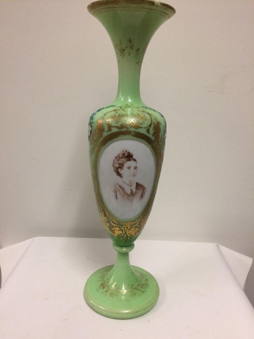 French Green On White Overlay Glass Vase, ca1880