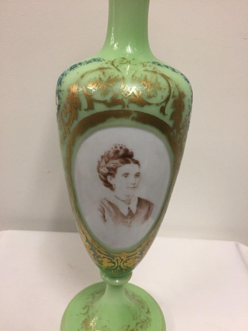French Green On White Overlay Glass Vase, ca1880 - 2