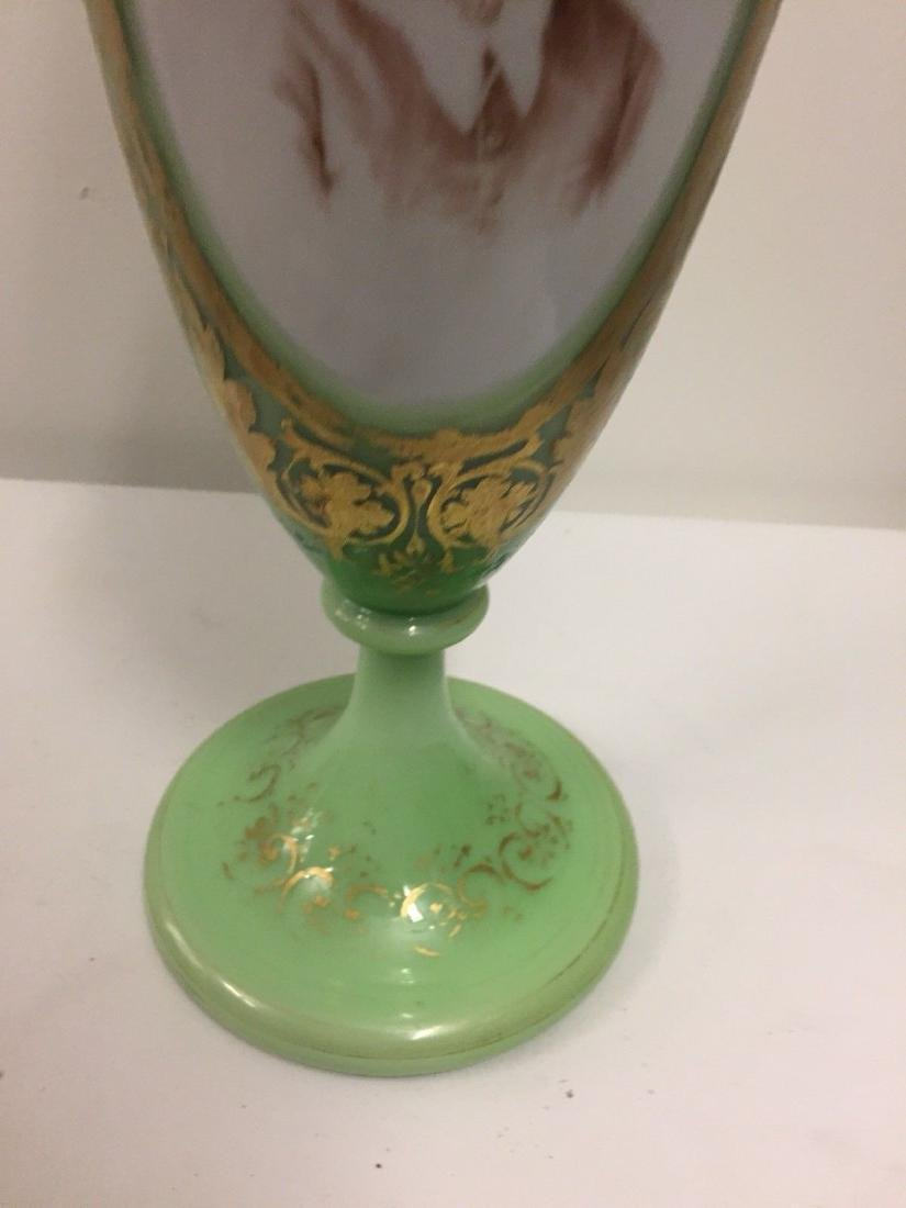 French Green On White Overlay Glass Vase, ca1880 - 3