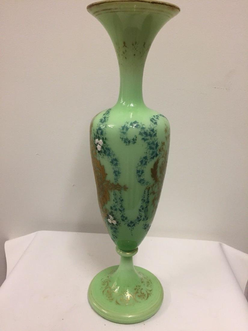 French Green On White Overlay Glass Vase, ca1880 - 7