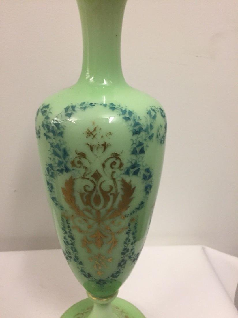 French Green On White Overlay Glass Vase, ca1880 - 9