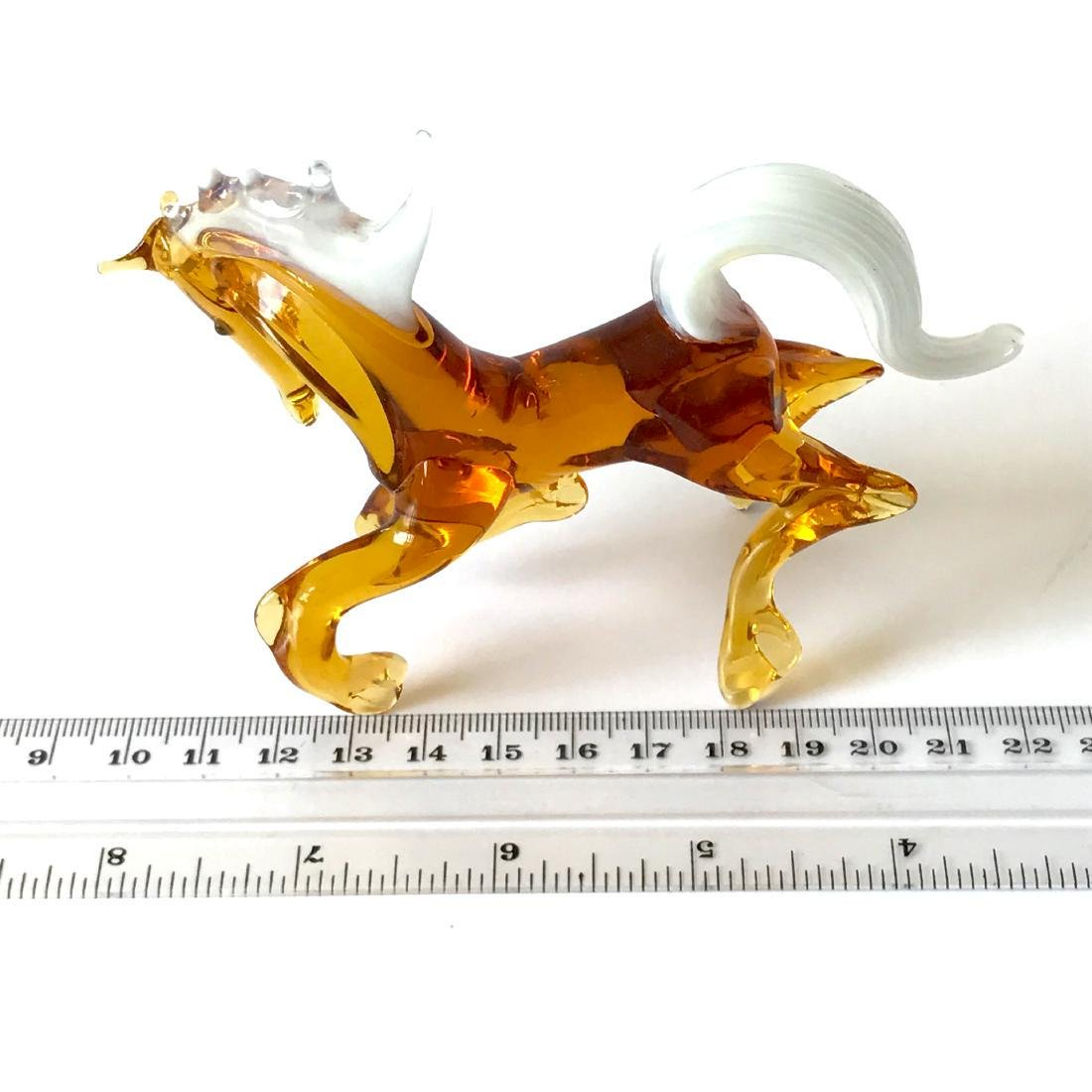 Figurine of horse amber coloured hand blown glass 10x12 - 4
