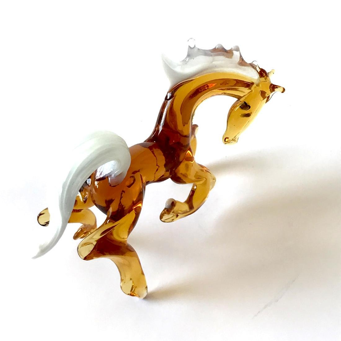 Figurine of horse amber coloured hand blown glass 10x12 - 5