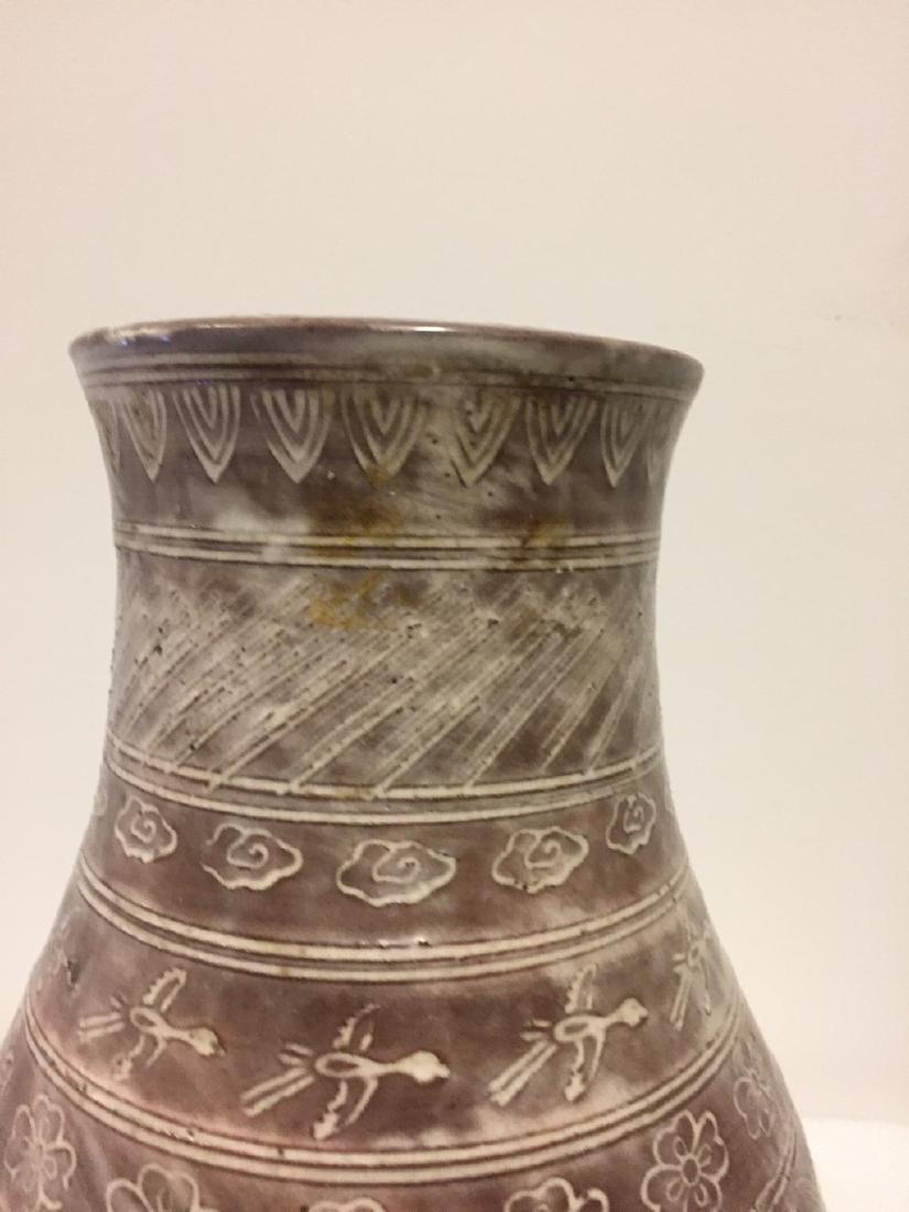 Asian Style Coffee Glazed Ground Vase, circa 1900 - 6