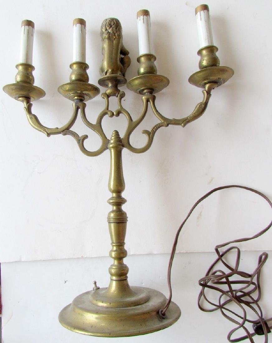 UNUSUAL ANTIQUE DUTCH BRONZE CANDELABURM - 4