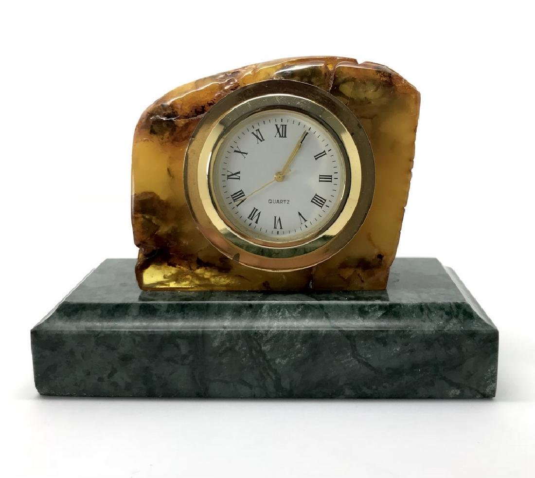 Collectible vintage standing clock Baltic amber green