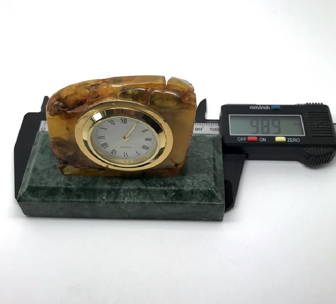 Collectible vintage standing clock Baltic amber green - 6