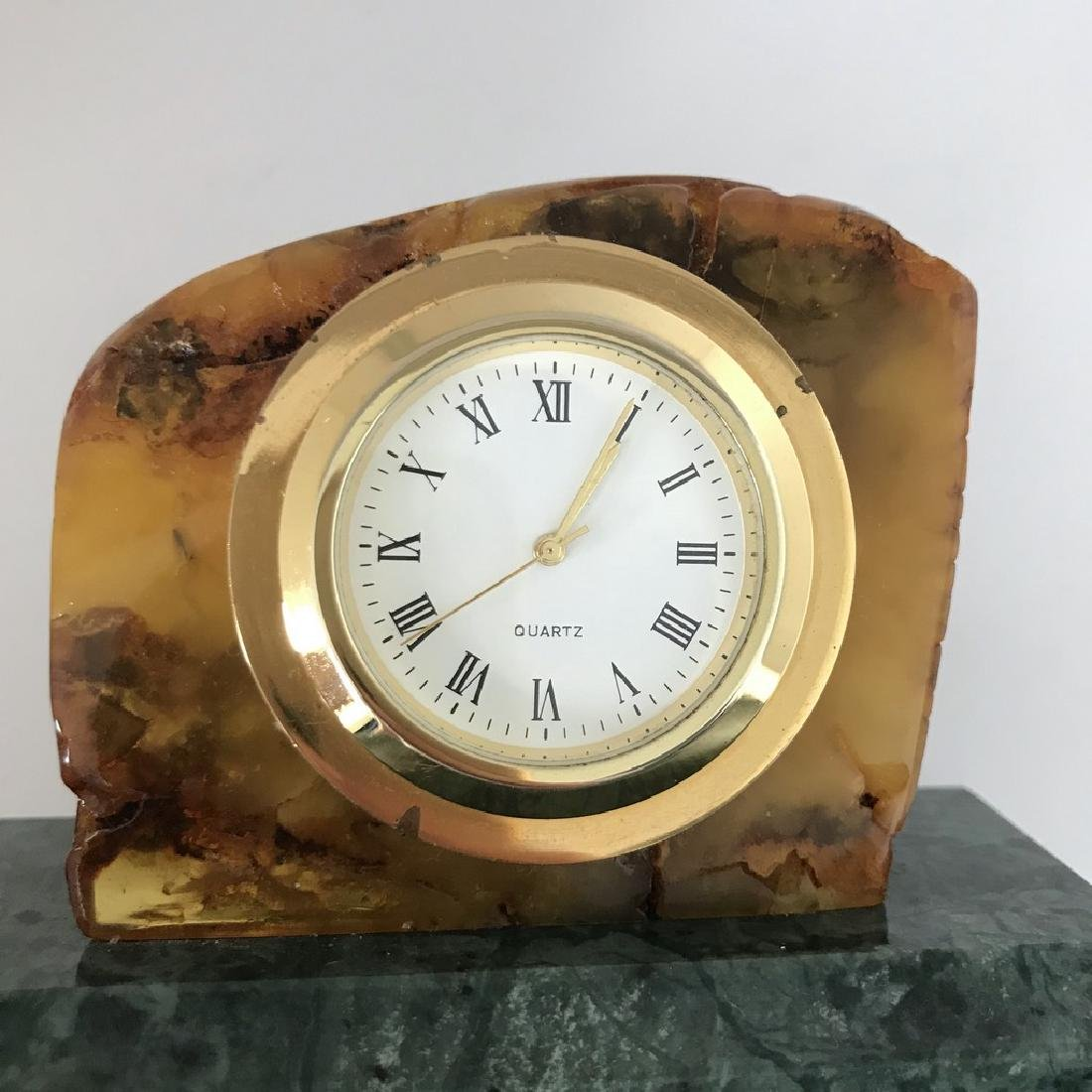 Collectible vintage standing clock Baltic amber green - 8
