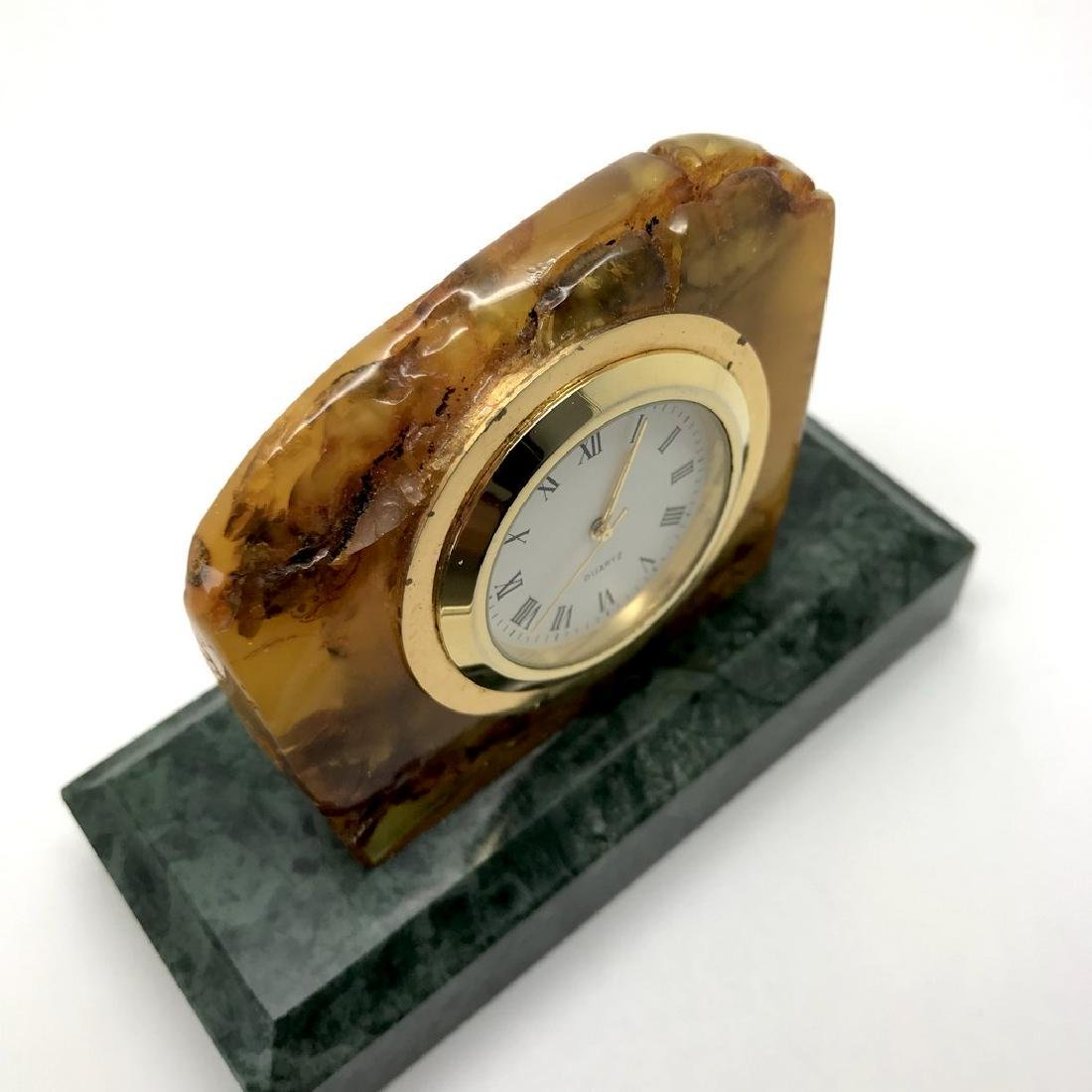 Collectible vintage standing clock Baltic amber green - 9