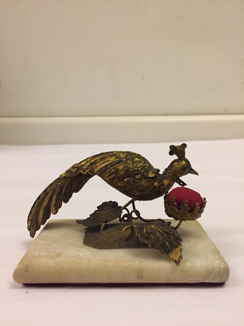 Gilt Metal Peacock Box and Pin Cushion, circa 1890