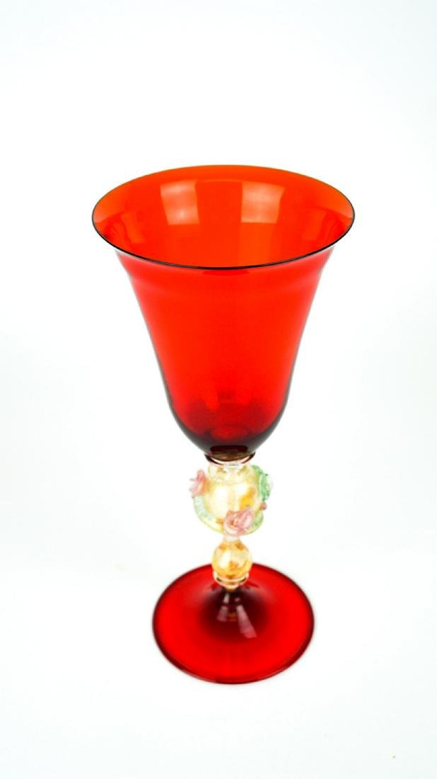 VENETIAN GOBLET RED WITH GOLD 24k - MADE MURANO GLASS - 2