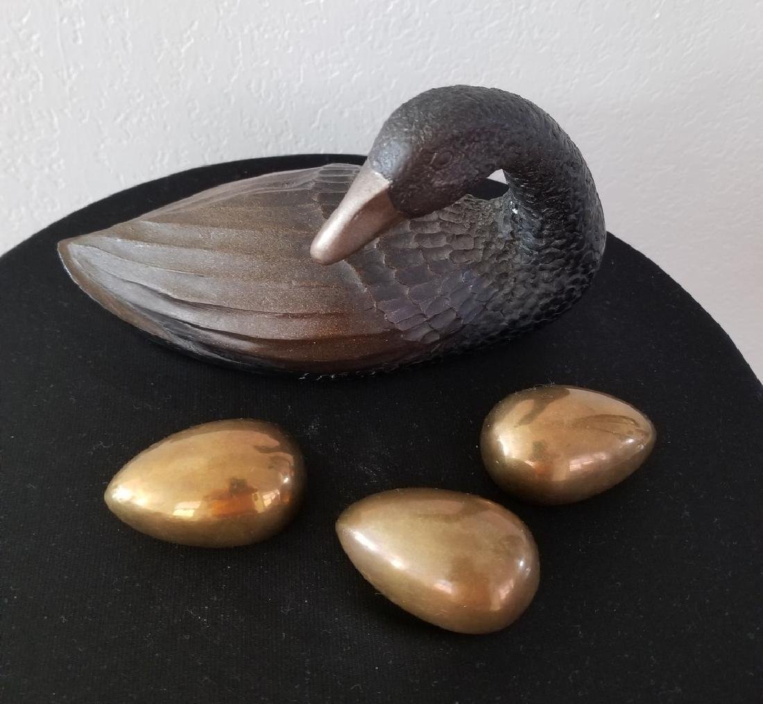 Lot of 4 Items - Mid Century Duck Decoy and Copper Eggs