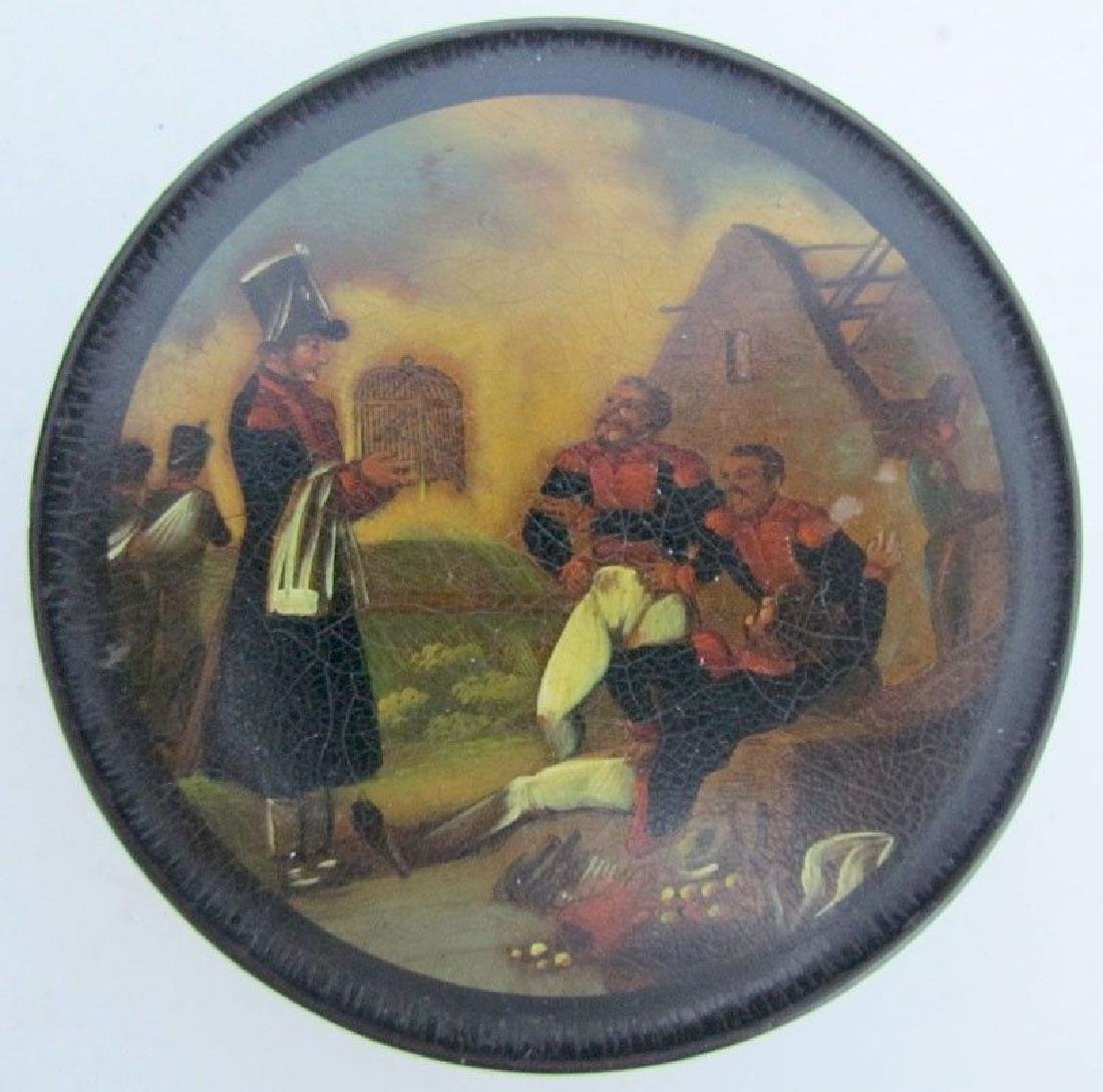 ANTIQUE BRITISH MILITARY HAND PAINTED LACQUER BOX -
