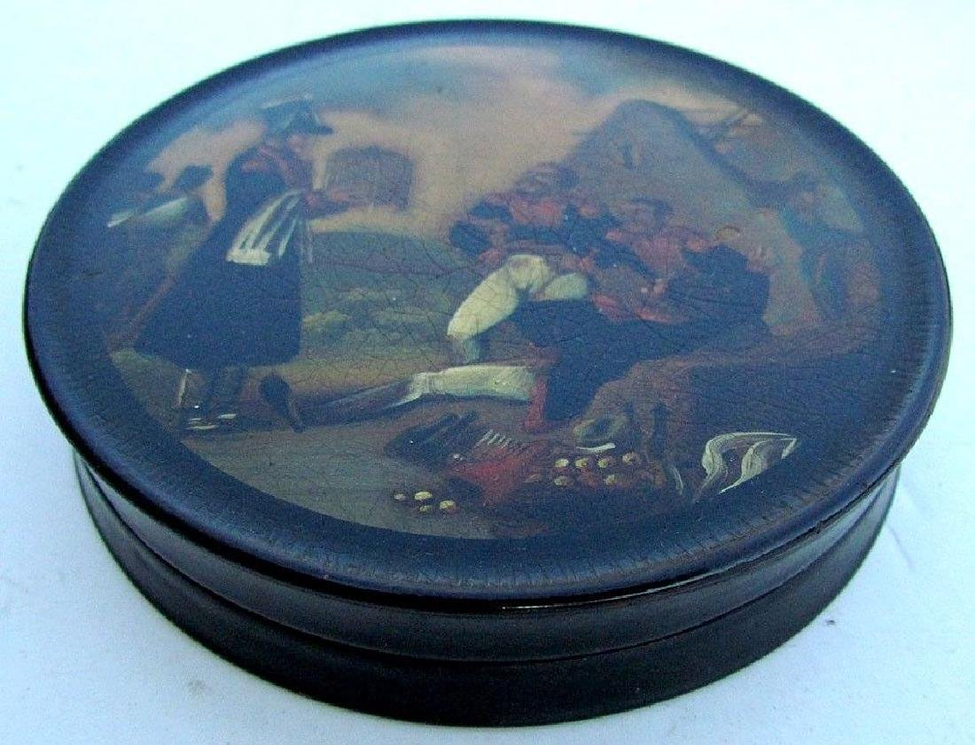 ANTIQUE BRITISH MILITARY HAND PAINTED LACQUER BOX - - 2