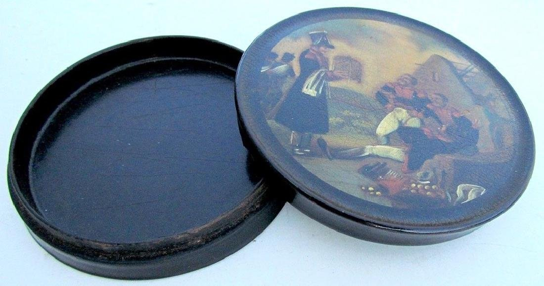 ANTIQUE BRITISH MILITARY HAND PAINTED LACQUER BOX - - 3