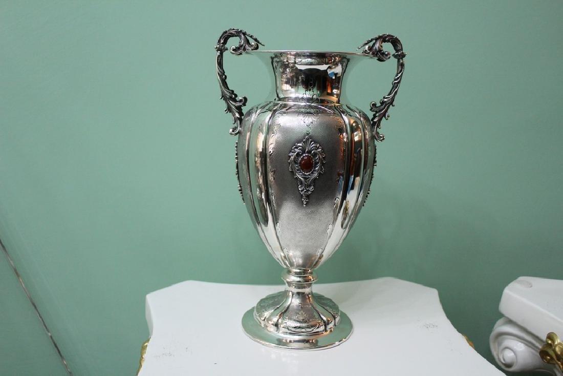 Italian Silver Engraved Flower Vase, 1950s - 2