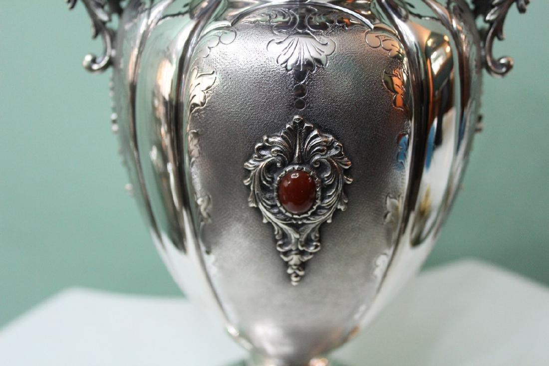 Italian Silver Engraved Flower Vase, 1950s - 4