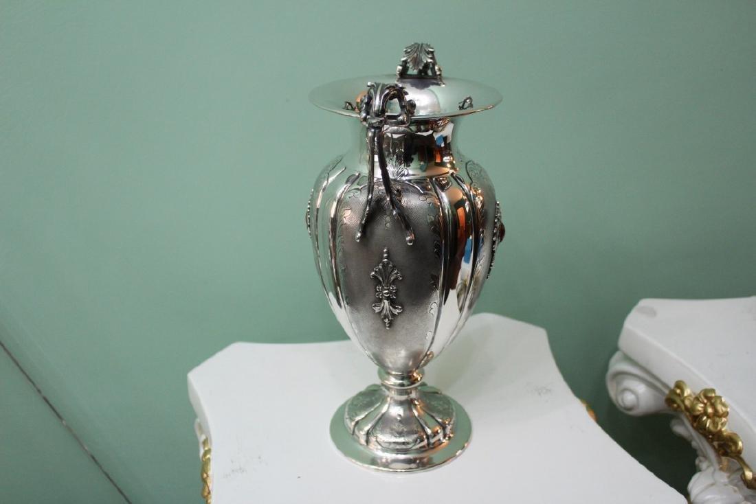 Italian Silver Engraved Flower Vase, 1950s - 6