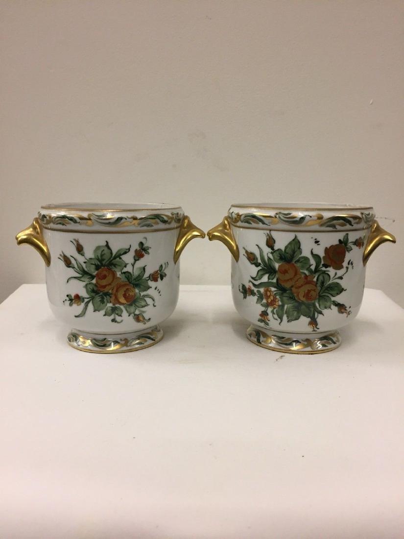 Antique French Porcelain Limoges Cachepots, 20th Cent.
