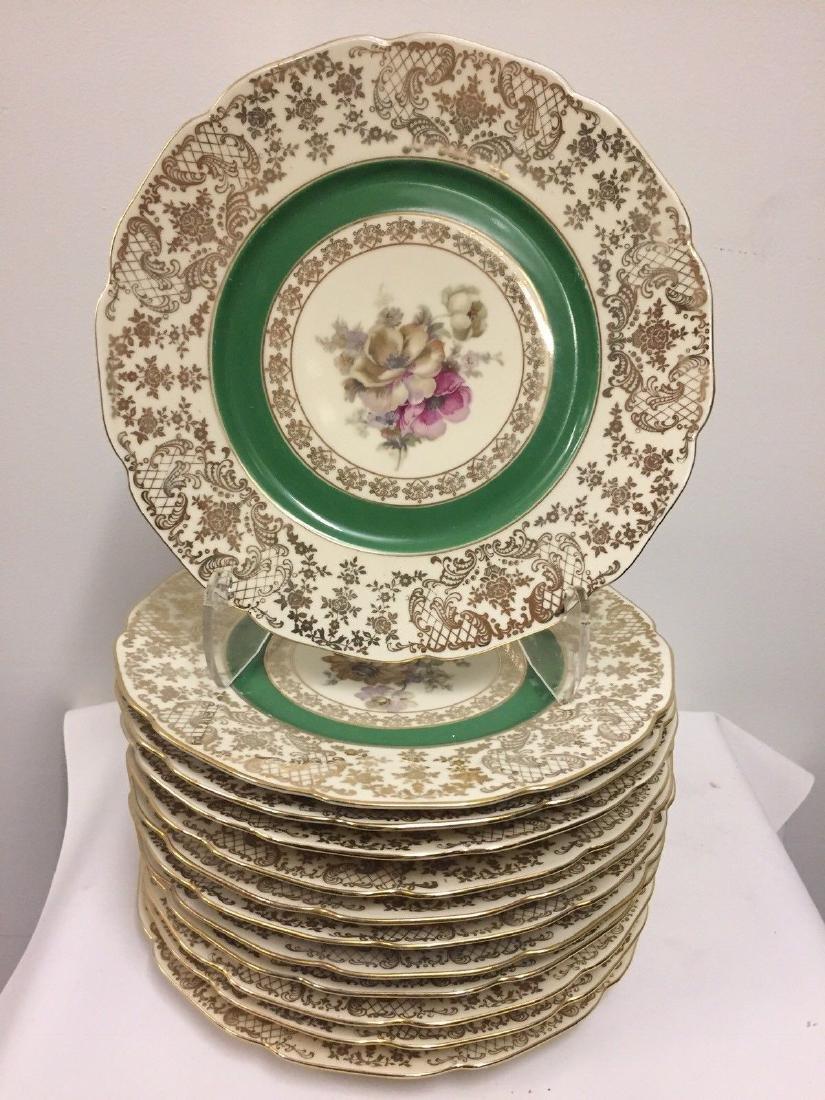 12 Czechoslovakia Porcelain Dinner Plates, 20th cent.