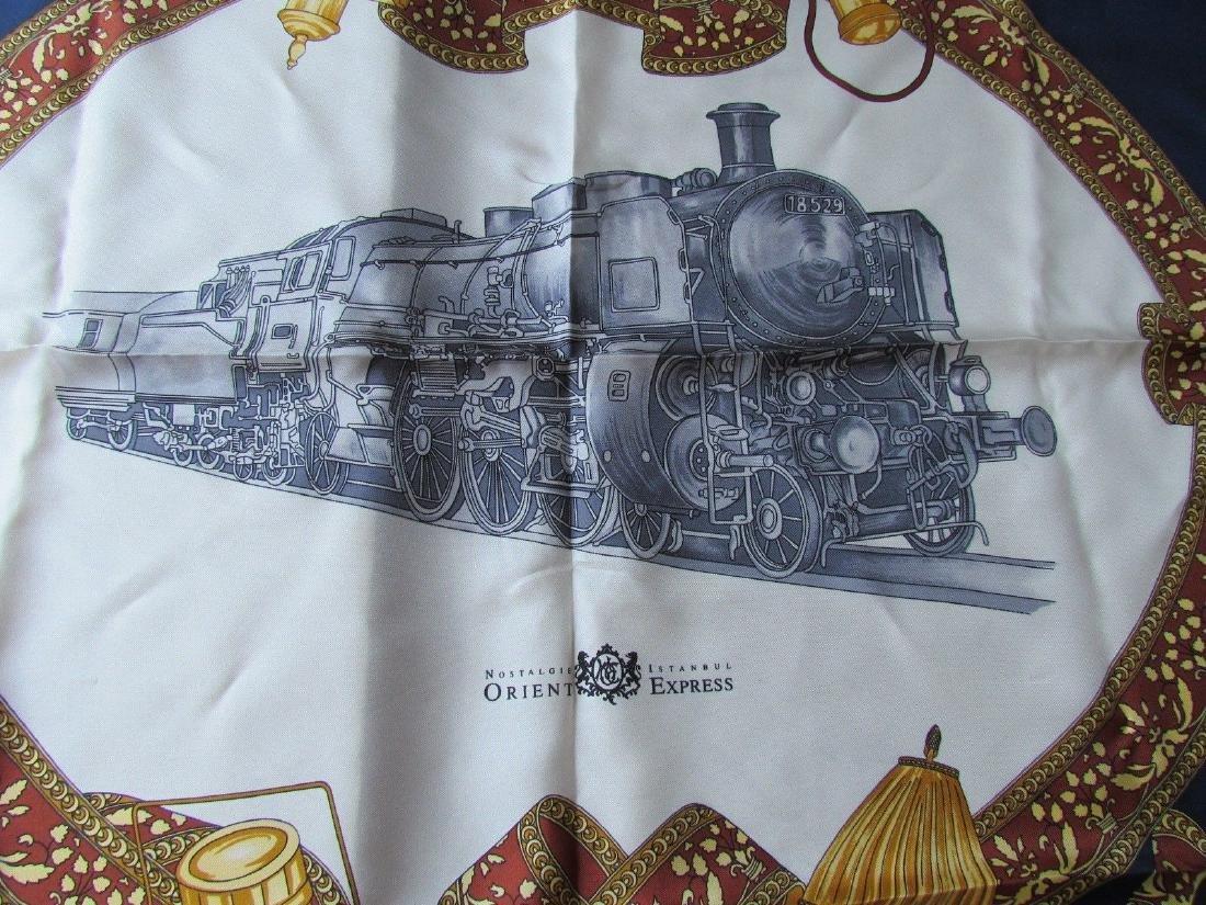 ORIENT EXPRESS SILK SCARF w/ train locomotive - 2