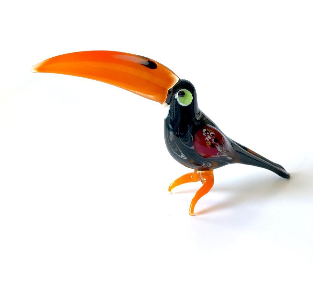 Figurine of toucan the bird hand blown glass 16x8 cm - 5