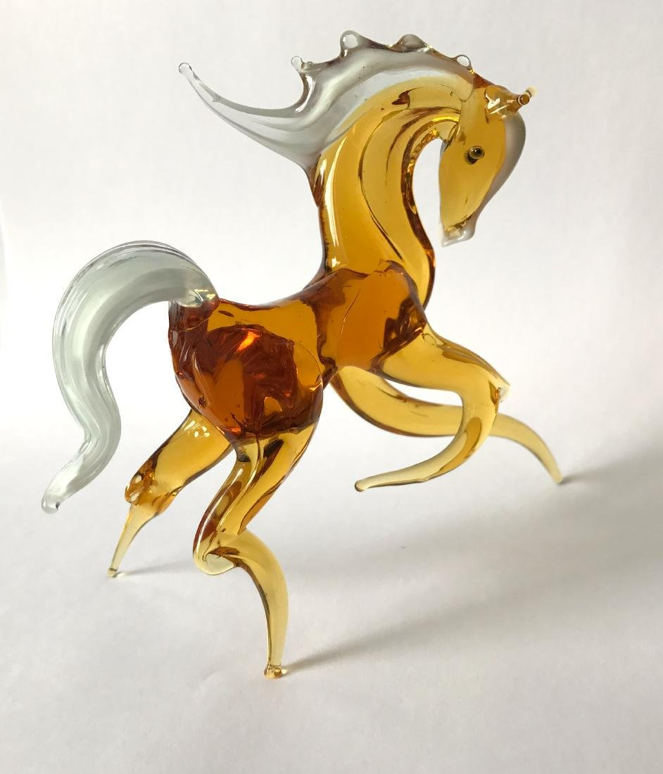 Figurine of horse amber coloured hand blown glass 13x11 - 2