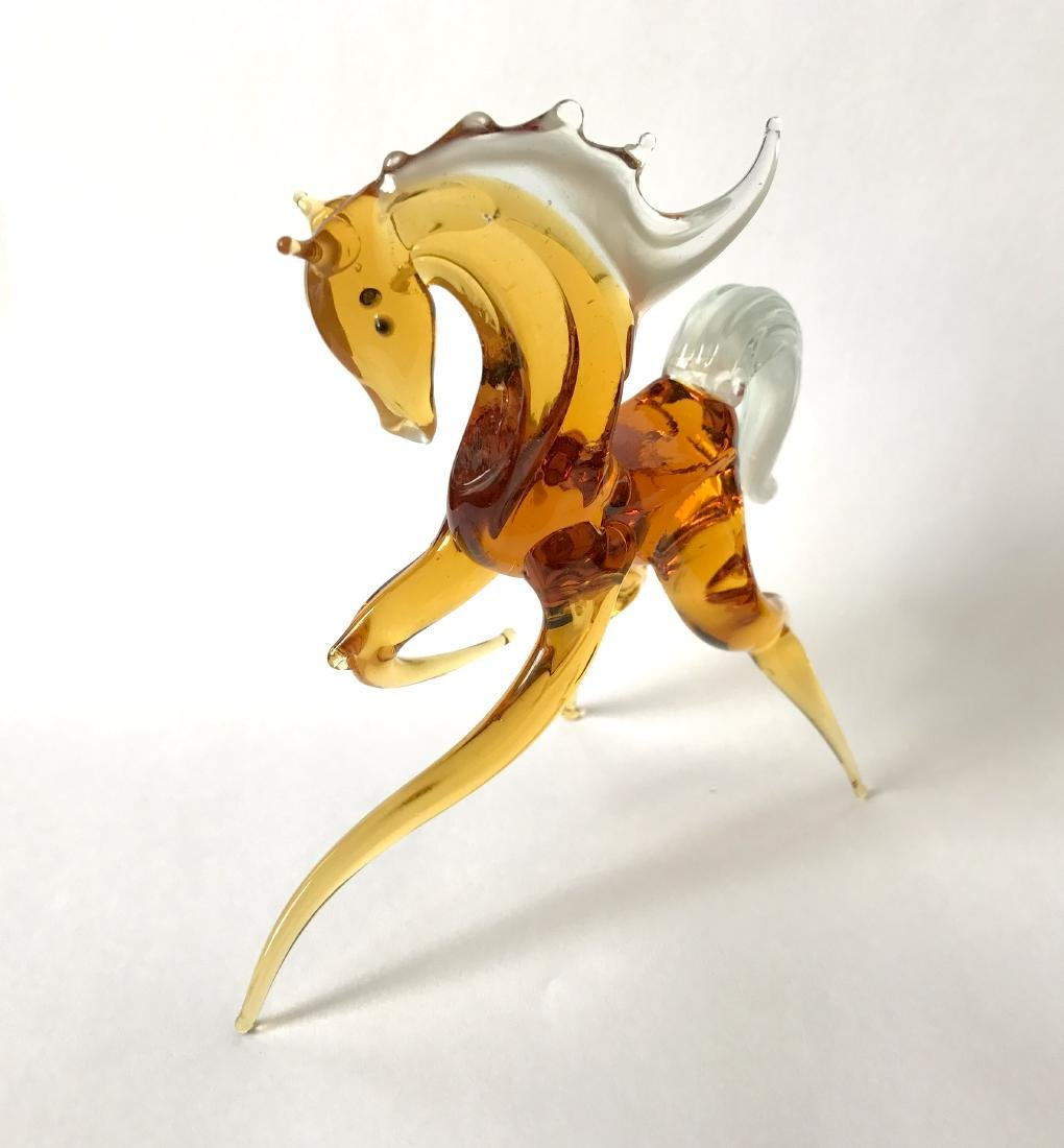 Figurine of horse amber coloured hand blown glass 13x11 - 4