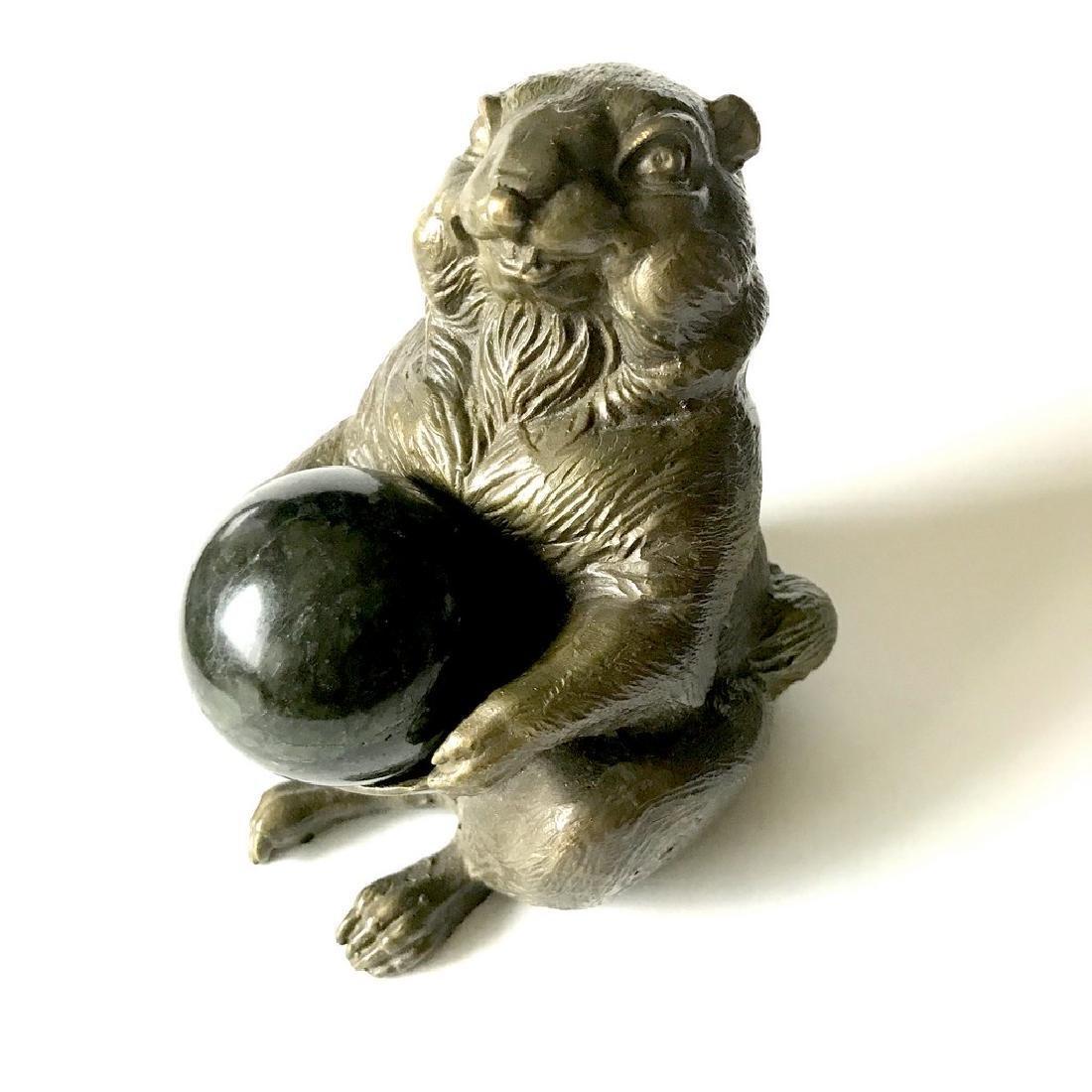 Vintage statue bronze Chipmunk Serpentine shpere ø40mm