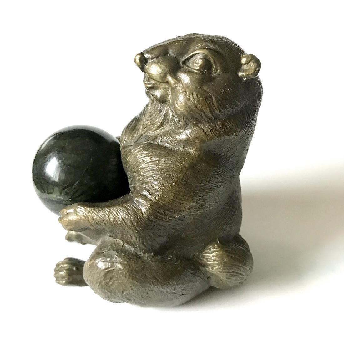Vintage statue bronze Chipmunk Serpentine shpere ø40mm - 3