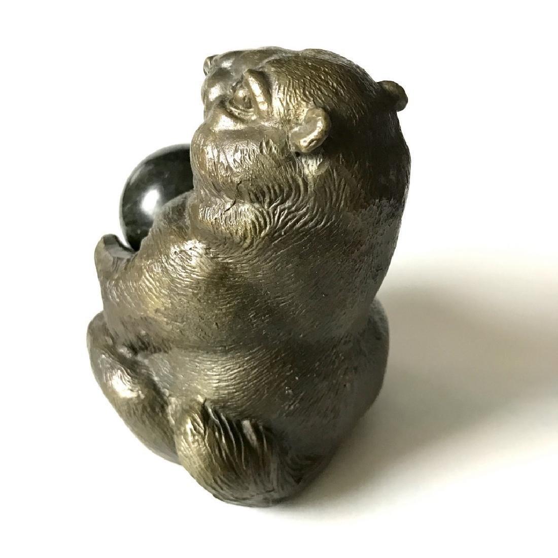 Vintage statue bronze Chipmunk Serpentine shpere ø40mm - 4
