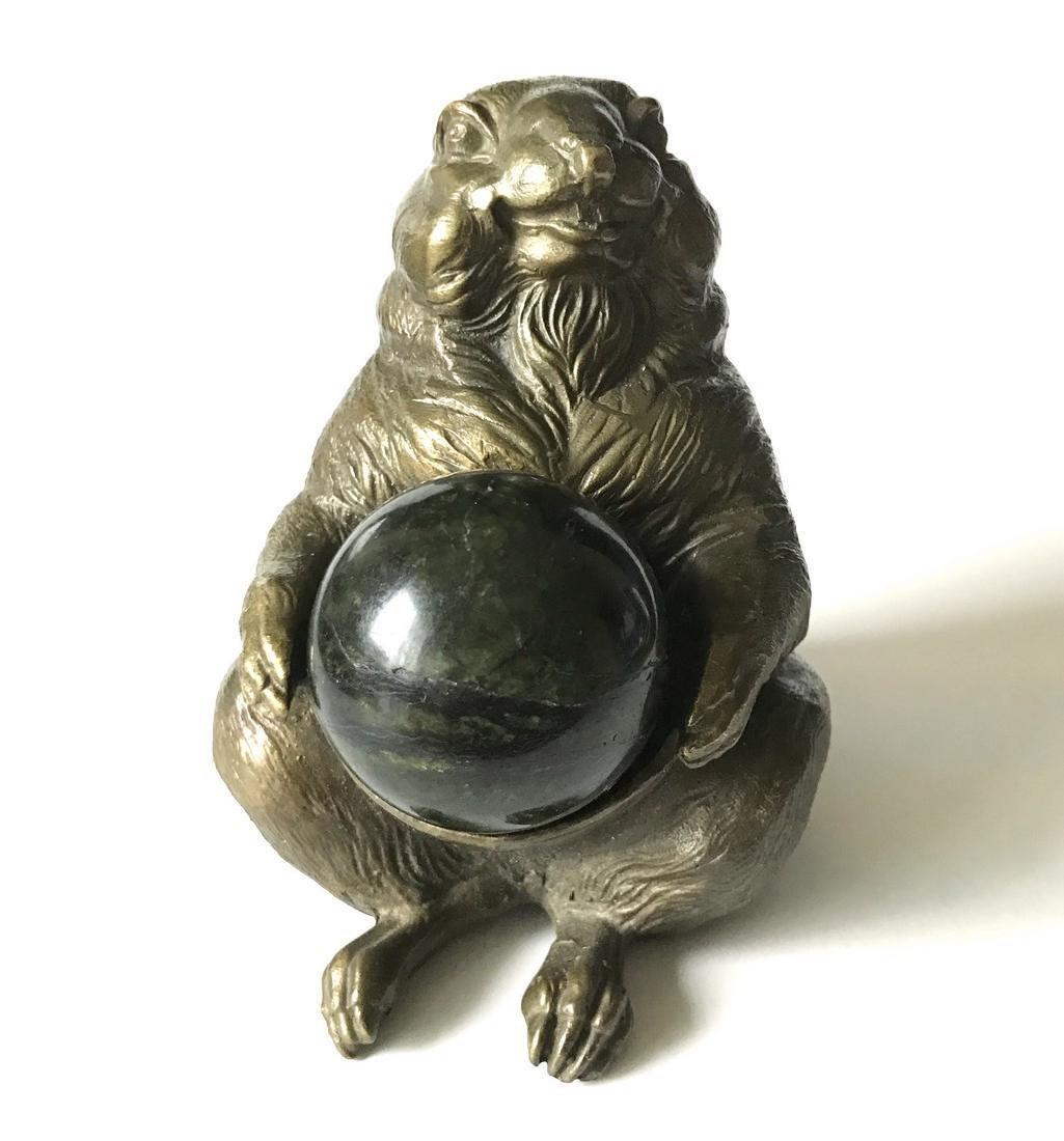 Vintage statue bronze Chipmunk Serpentine shpere ø40mm - 8