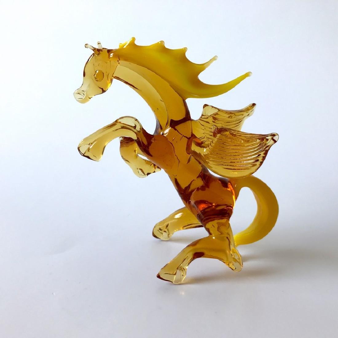 Figurine of Pegasus the winged horse amber coloured - 4