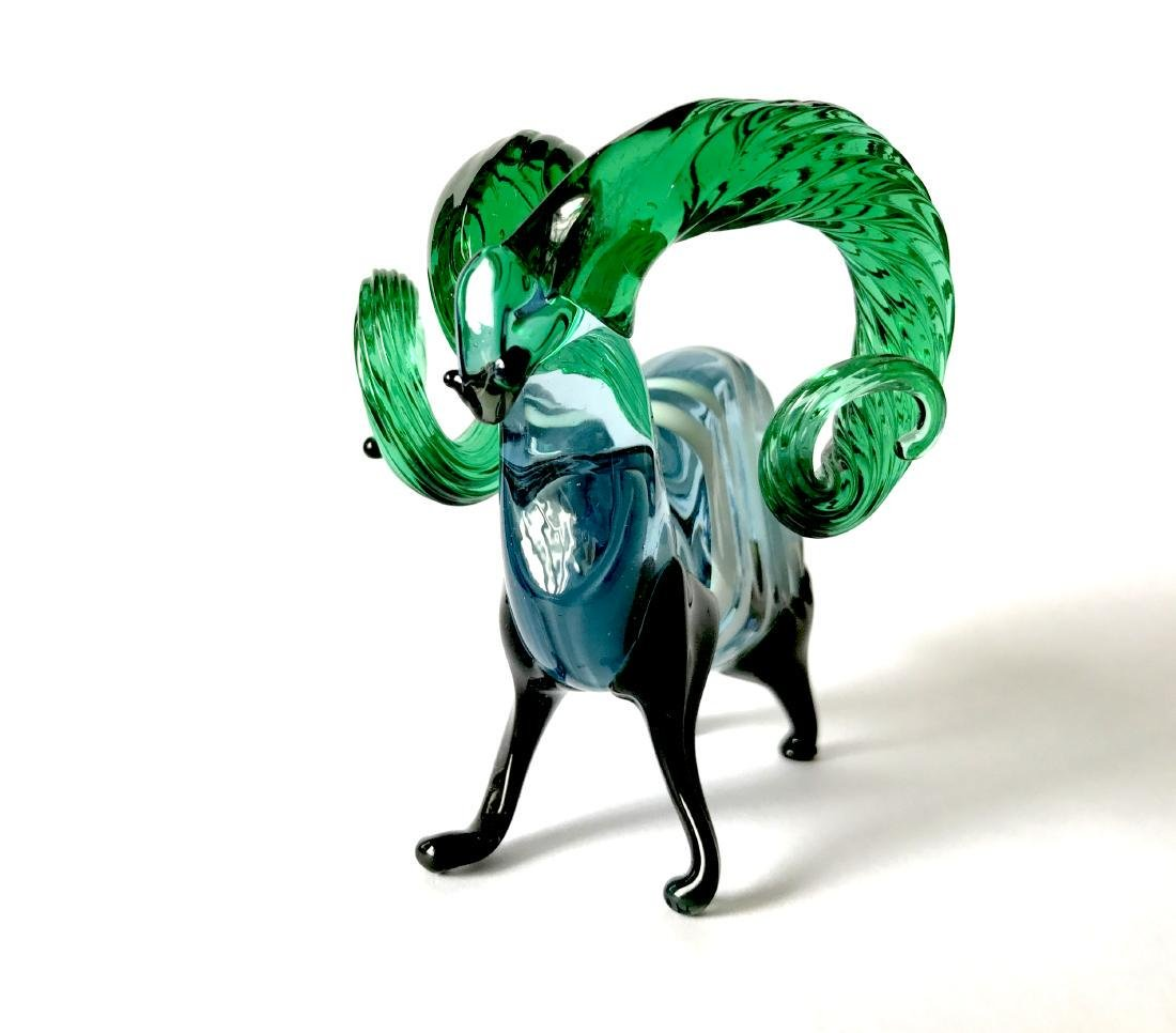 figurine of wether with emerald horns hand blown glass - 2