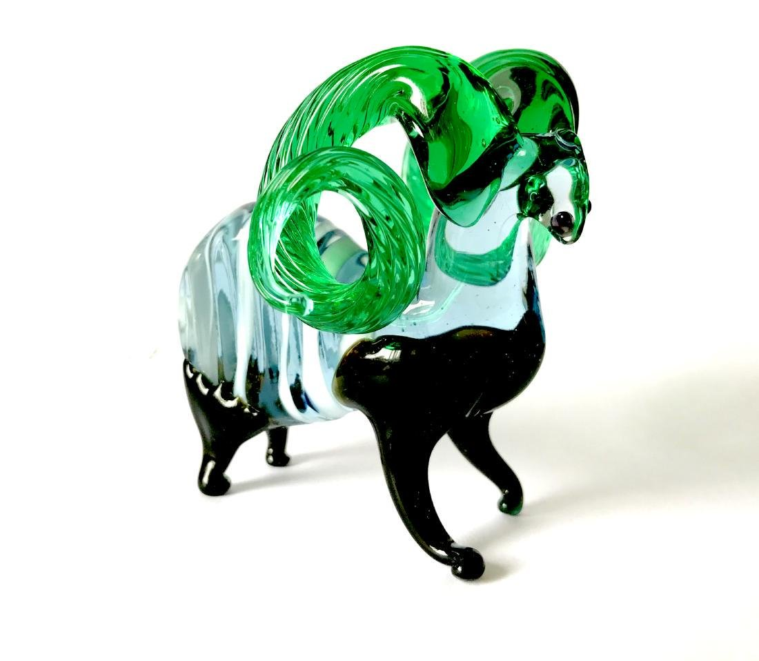 figurine of wether with emerald horns hand blown glass - 3