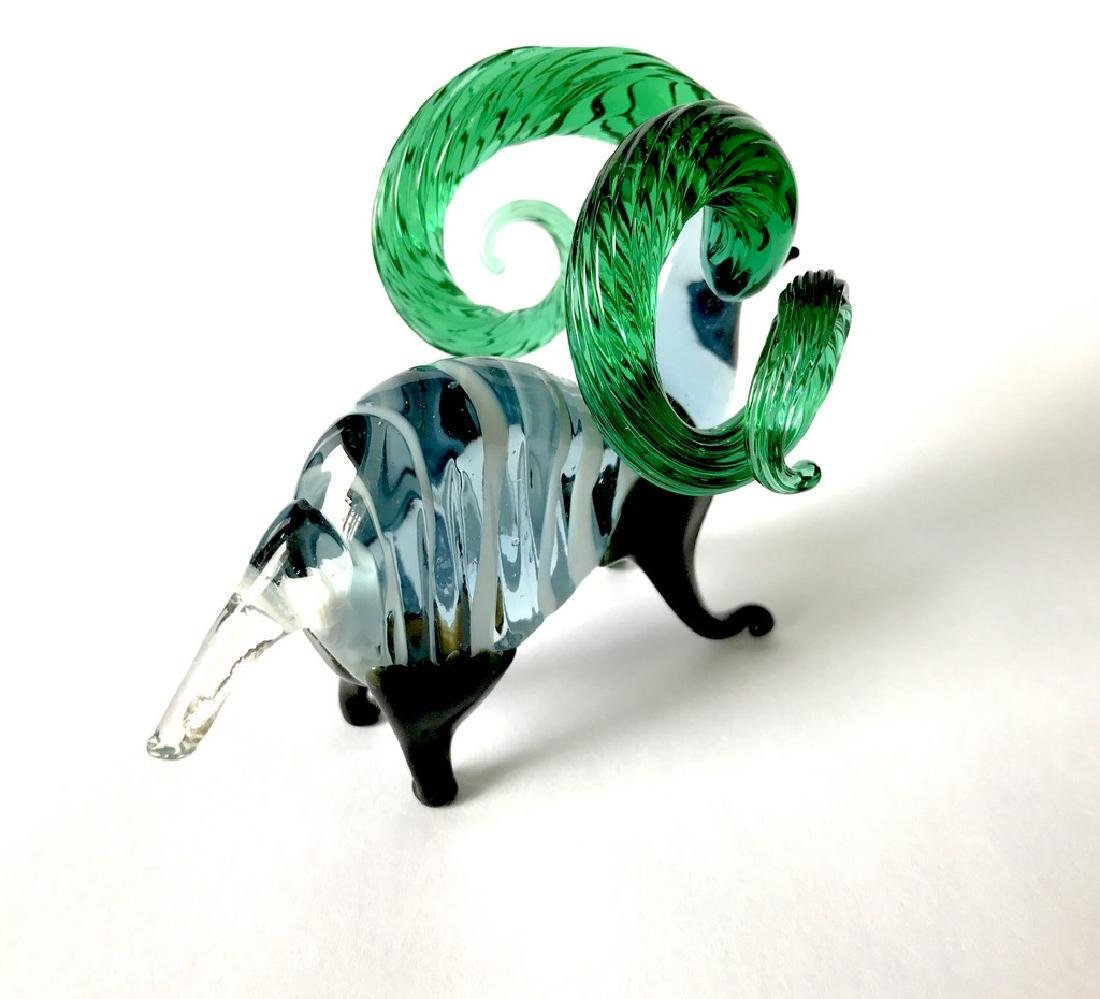 figurine of wether with emerald horns hand blown glass - 5