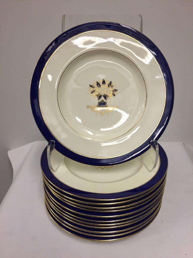 Set of 12 Antique English Porcelain Lunch Plates, 1900