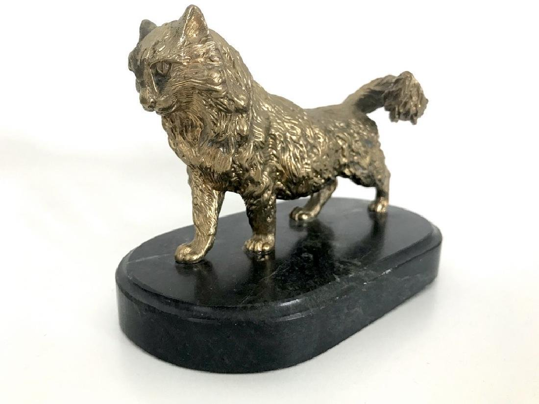 Vintage statue bronze cat green marble base 1547 grams