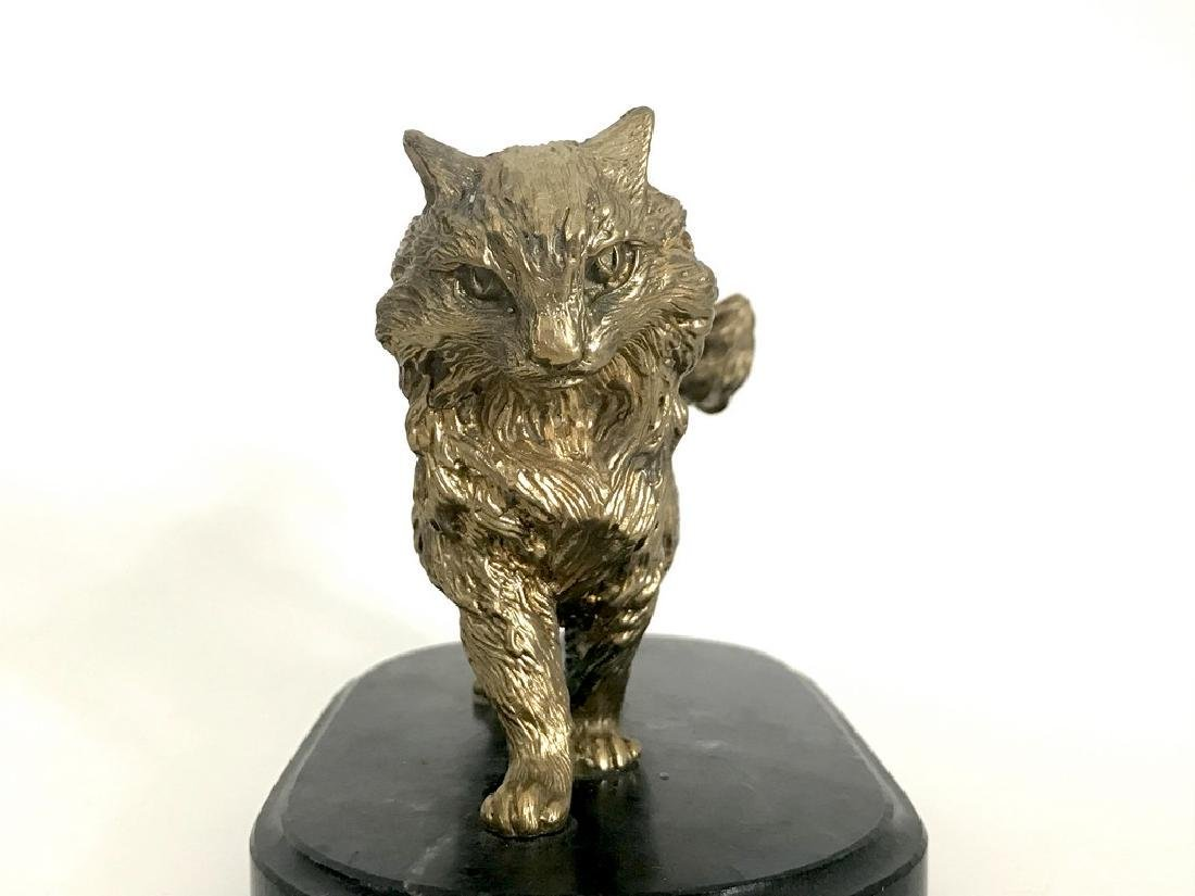 Vintage statue bronze cat green marble base 1547 grams - 7