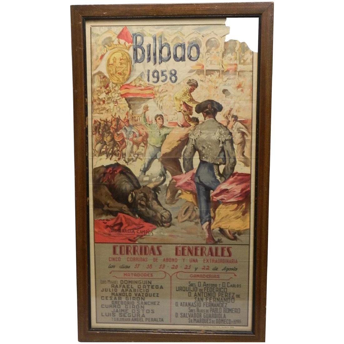 Vintage Original Bullfighting Poster from Bilbao Spain
