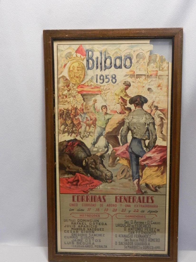 Vintage Original Bullfighting Poster from Bilbao Spain - 2