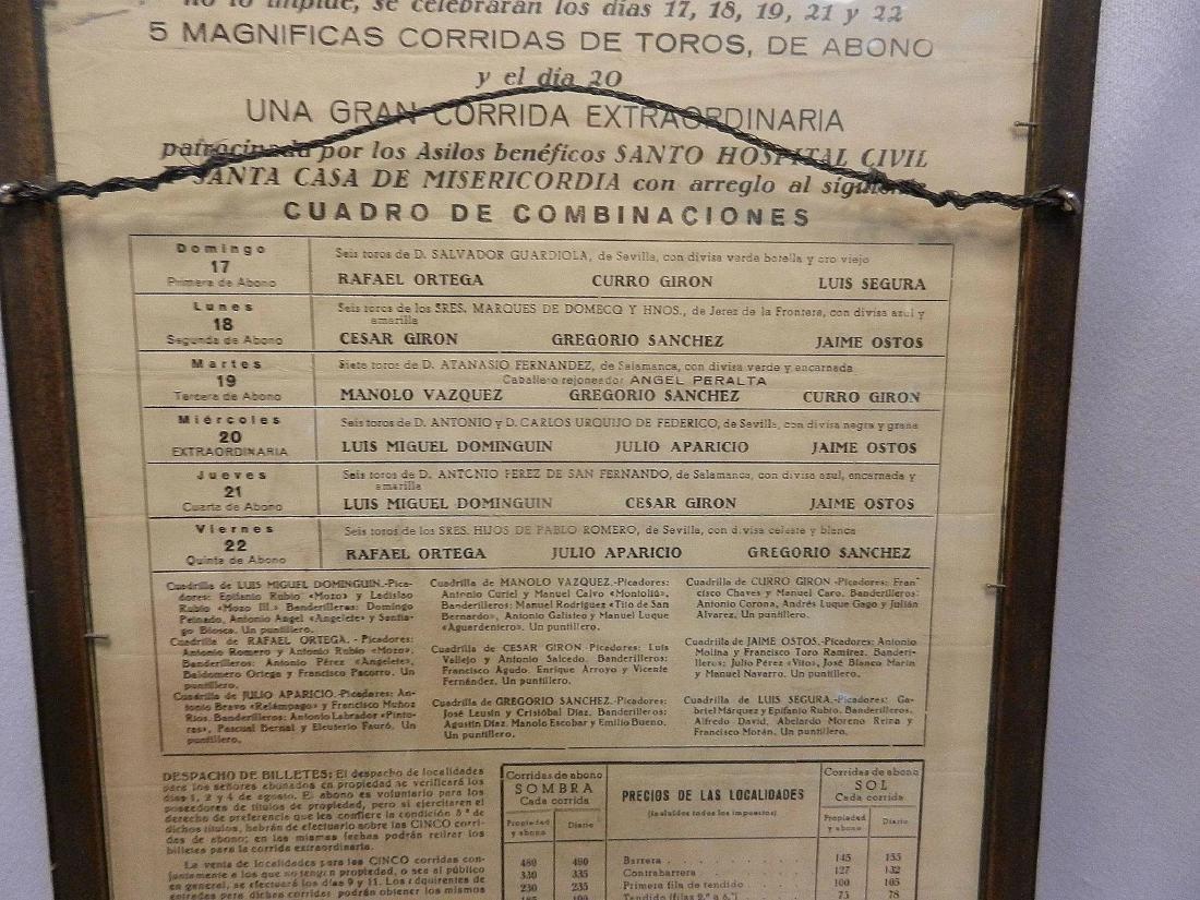 Vintage Original Bullfighting Poster from Bilbao Spain - 6