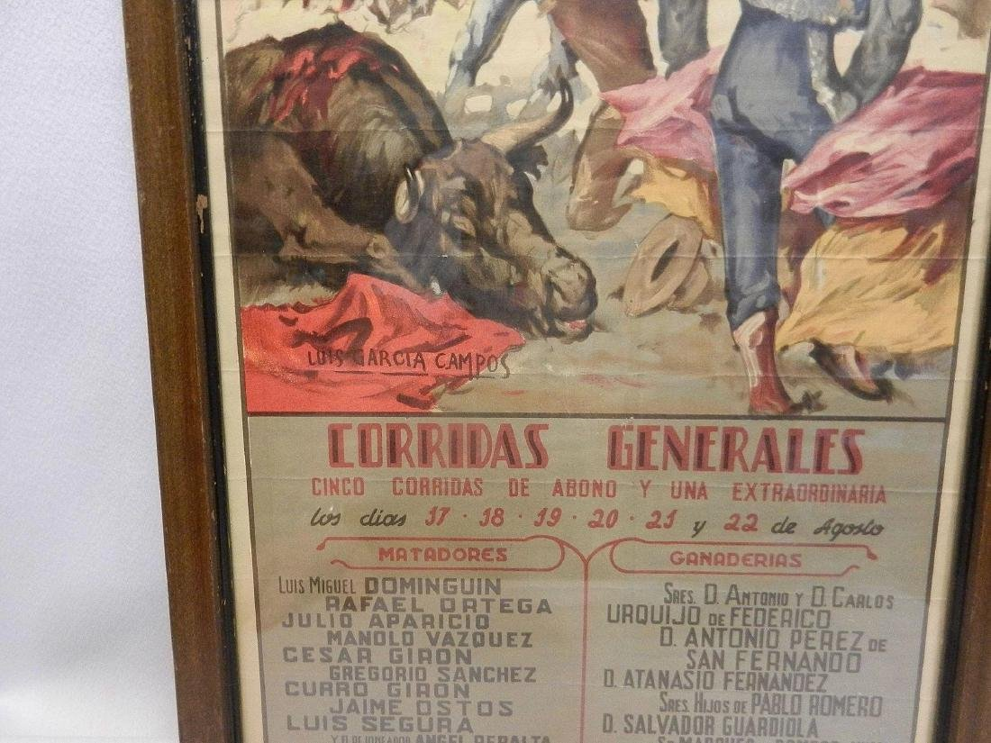 Vintage Original Bullfighting Poster from Bilbao Spain - 8