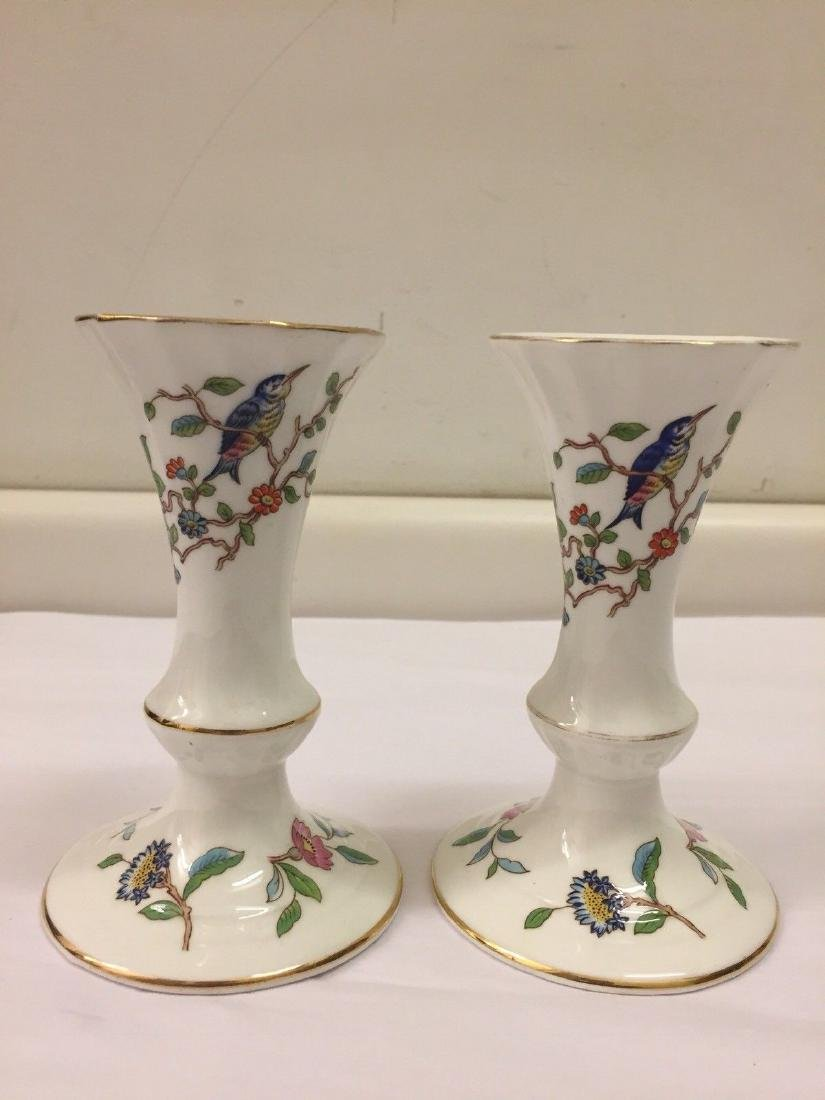 English Porcelain Candlesticks, Aynsley, 20th Cent.