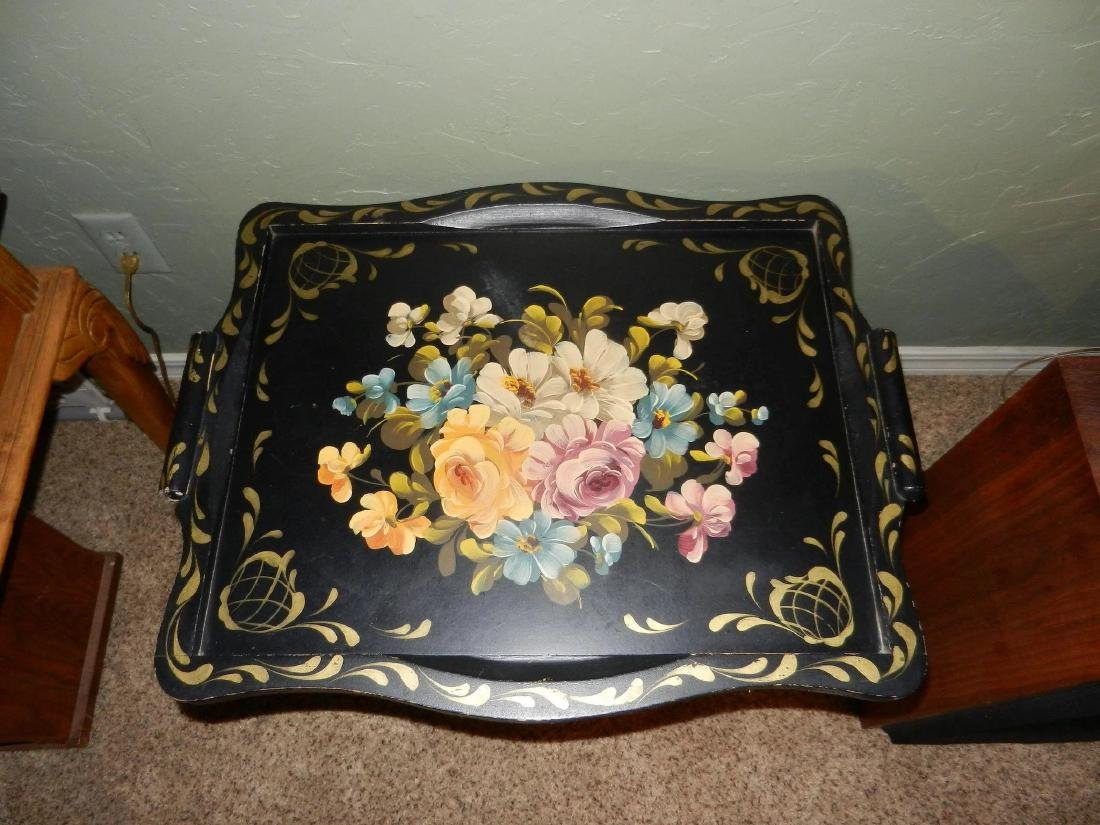 Vintage Wood Hand Painted Tole Serving Tray with Wood - 4