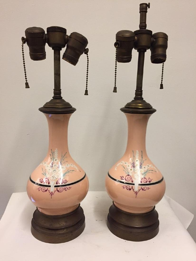 Pair of French Opaline Salmon Ground Vase Lamps, 1900
