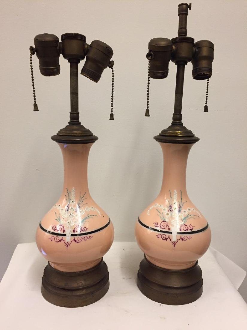 Pair of French Opaline Salmon Ground Vase Lamps, 1900 - 2