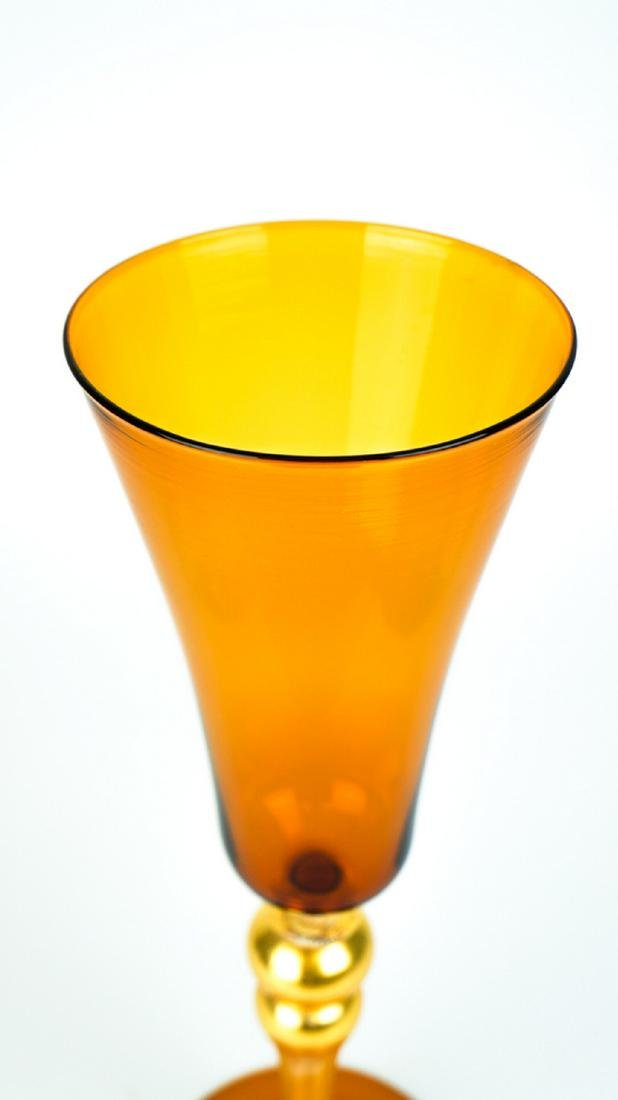 VENETIAN GOBLET AMBER WITH GOLD 24k - MADE MURANO GLASS - 4