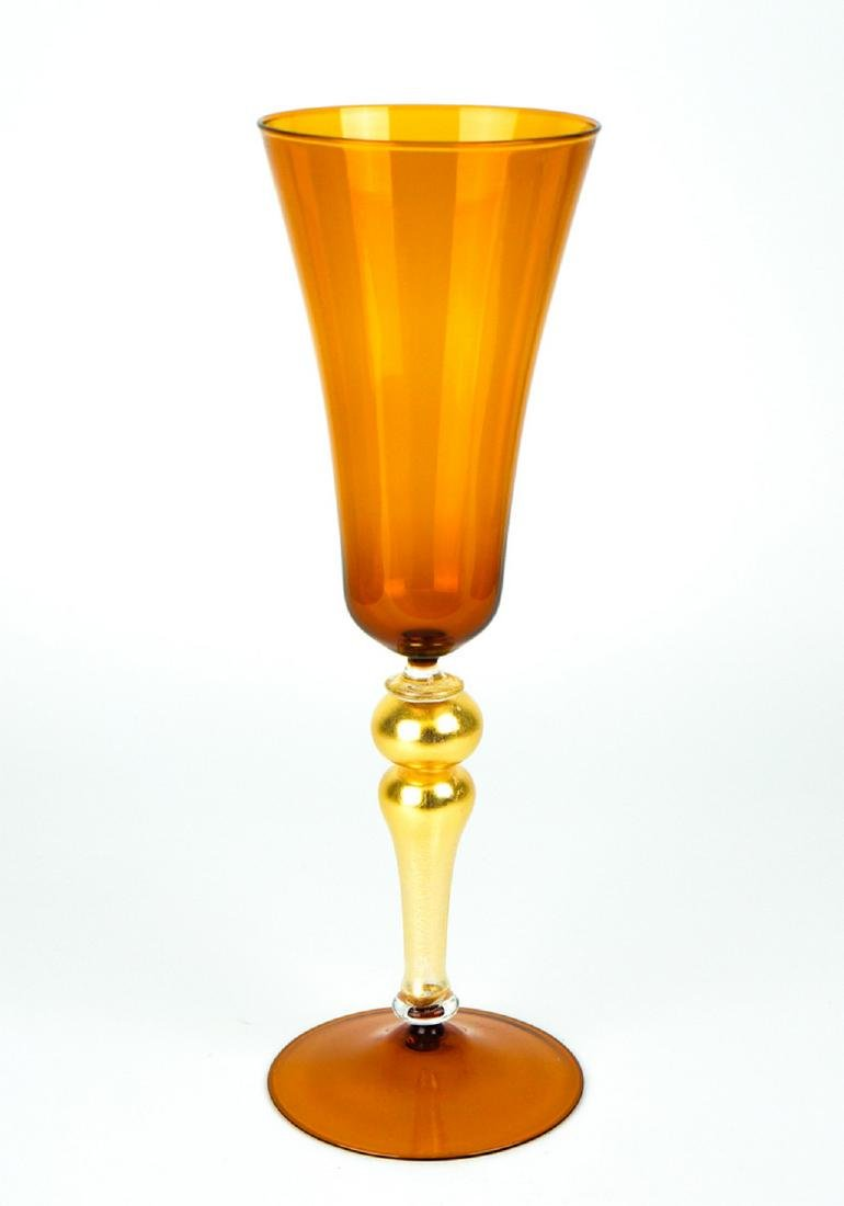 VENETIAN GOBLET AMBER WITH GOLD 24k - MADE MURANO GLASS - 9