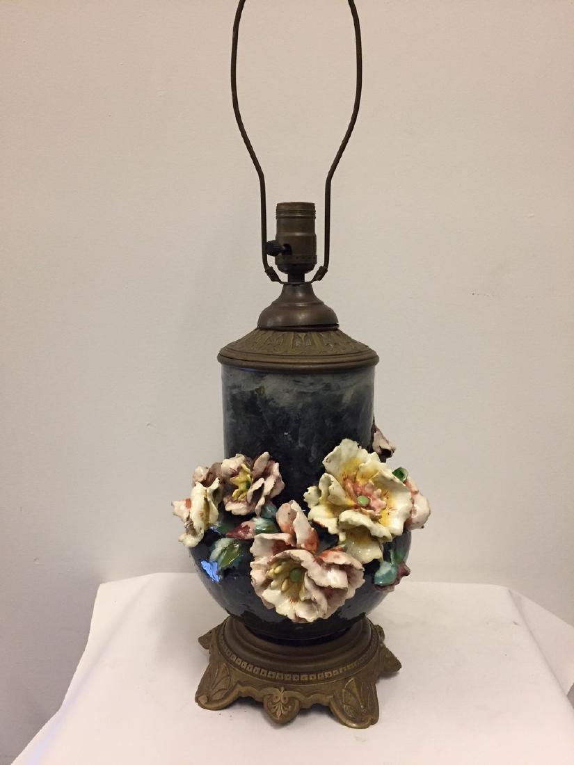 European Majolica Vase Mounted as Lamp, circa 1900